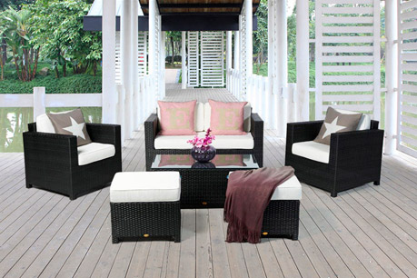 lounge rattan rattan sitzgruppe rattanm bel gartenm bel sofa balkon und terrassenm bel. Black Bedroom Furniture Sets. Home Design Ideas